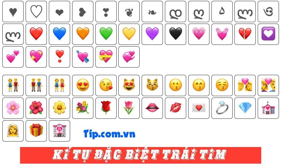 #2021 1001 Kí tự đặc biệt hình trái tim, Emoji Trái Tim Tình Yêu Đẹp nhất