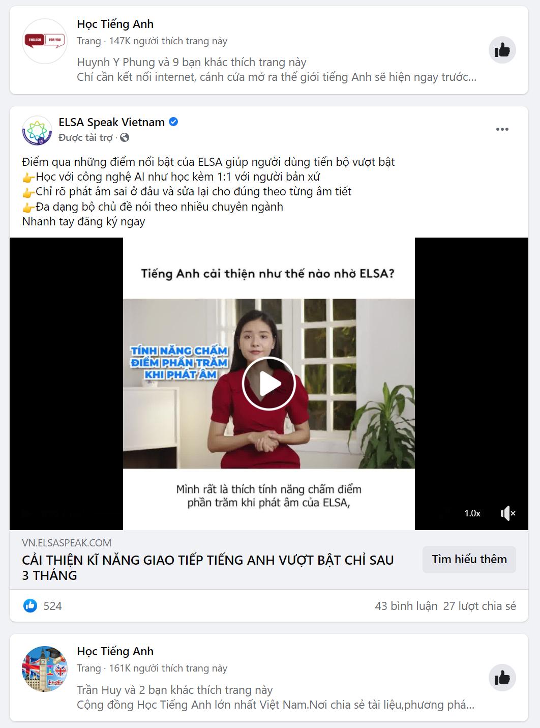 target facebook khóa học tiếng Anh mới nhất