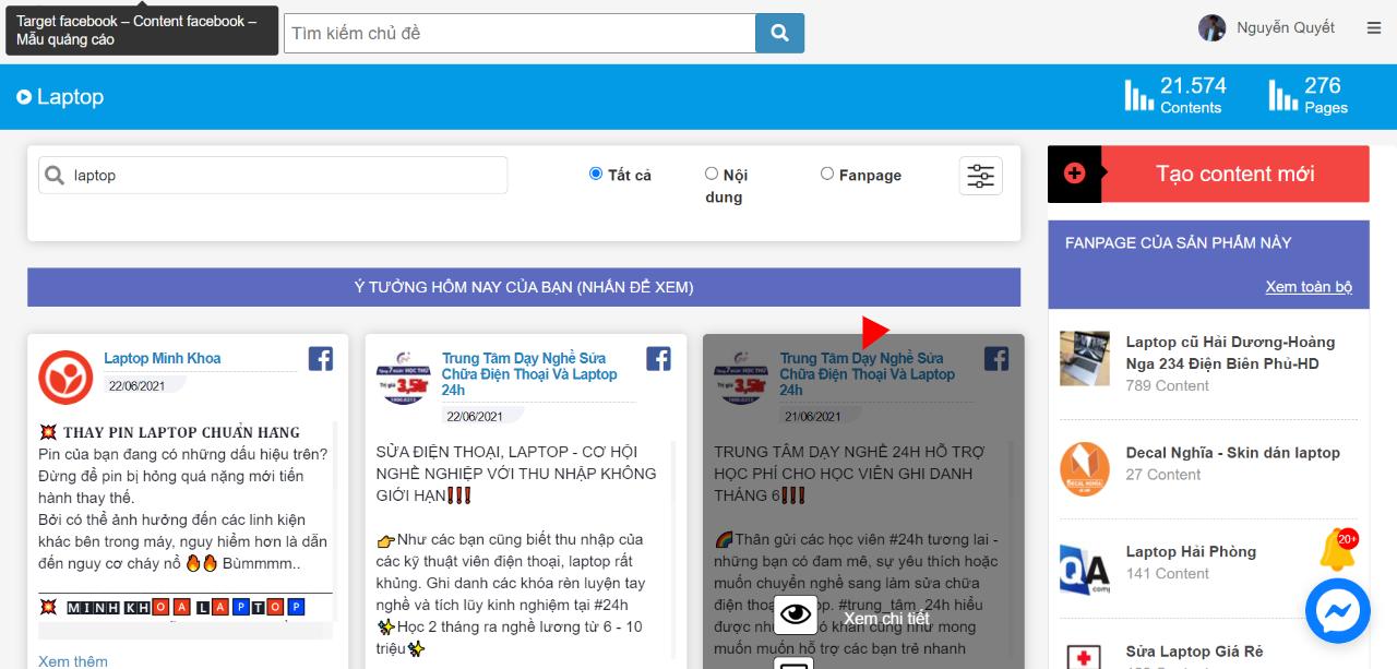 target facebook may tinh xach tay, laptop