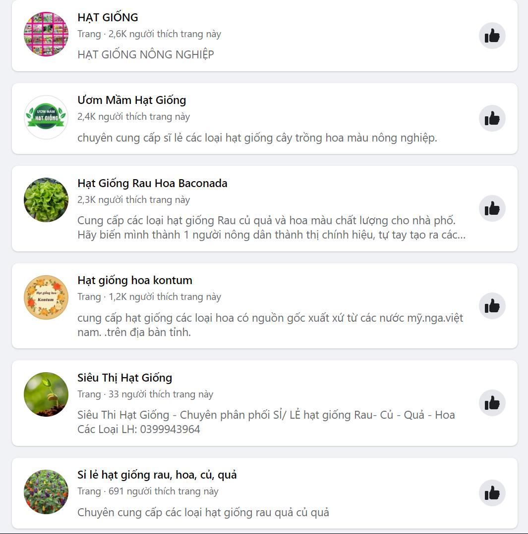 target facebook hạt giống nông nghiệp mới nhất