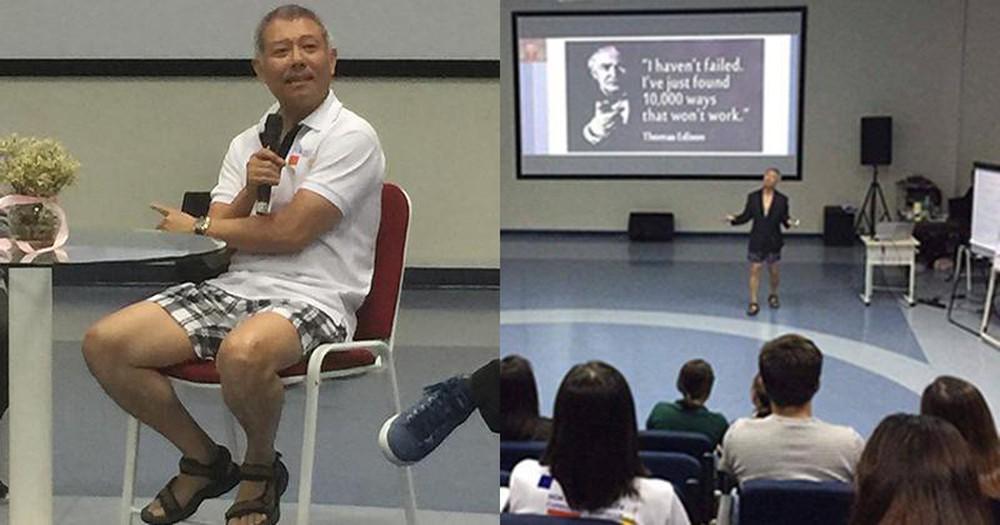 """Hình ảnh của """"giáo sư quần đùi"""" Trương Nguyện Thành diễn thuyết trước sinh viên"""